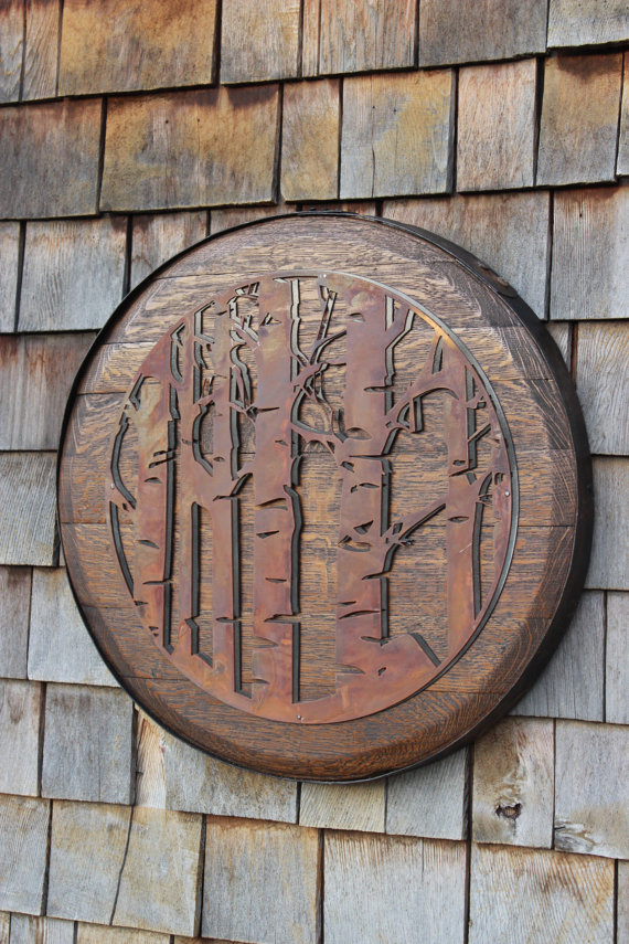 Double Aspen Trees on Whiskey Barrel Head - $189