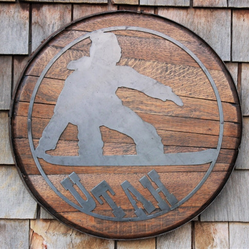 Metal Snowboarder on Oak Whiskey Barrel Head