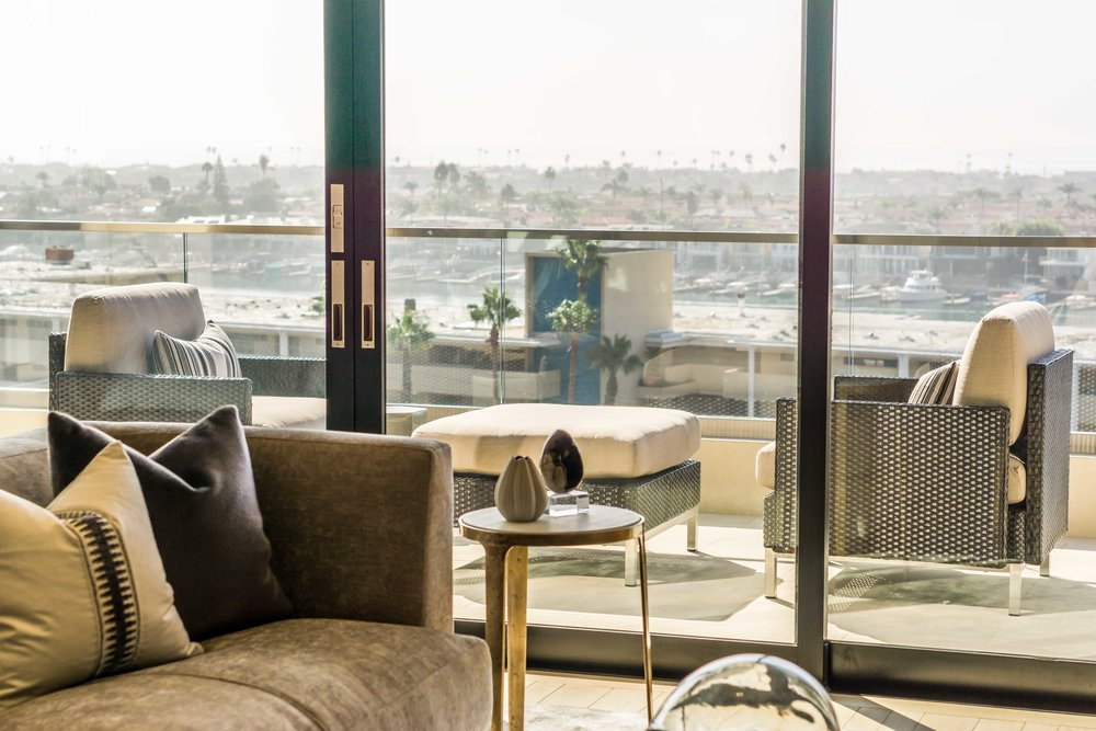 Interior photograph of luxury home overlooking Balboa bay in Newport beach CaliforniaBay in Newport Beach California