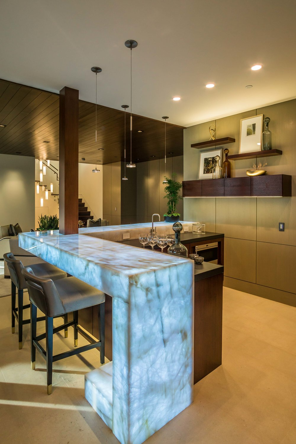 Interior photograph modern Luxury Marble illuminated LED Bar And room