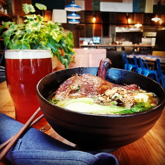 Here's something to quack about! 🦆The Duck Leg and Noodle soup is a favorite this time of year. Enjoy it with a crisp Copperline Amber from @backwoodsbrewingcompany . Migrate on over to Hem! #duckwithit