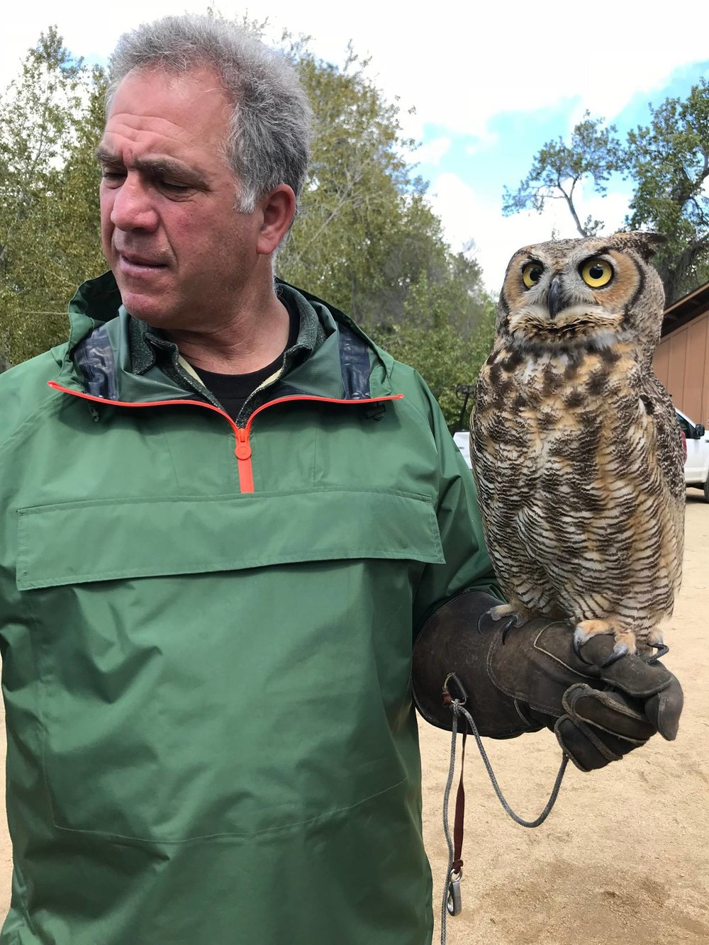 Antonio Belestreri with a Great-Horned Owl