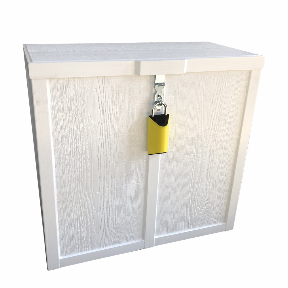 """BoxLock Home + ParcelBox  $389 + shippingBe one of the first to get a BoxLock Home and an exclusive Porch Box Parcel Box. Items included: -BoxLock Home -Window Sticker -Parcel Box -Yard Sign ParcelBox is 27"""" Wx 13"""" D x 25.5"""" H Holds parcels up to 25""""x 9.5""""x 23"""" (or two 25 x 11 x 23 parcels Pre-Order Now"""