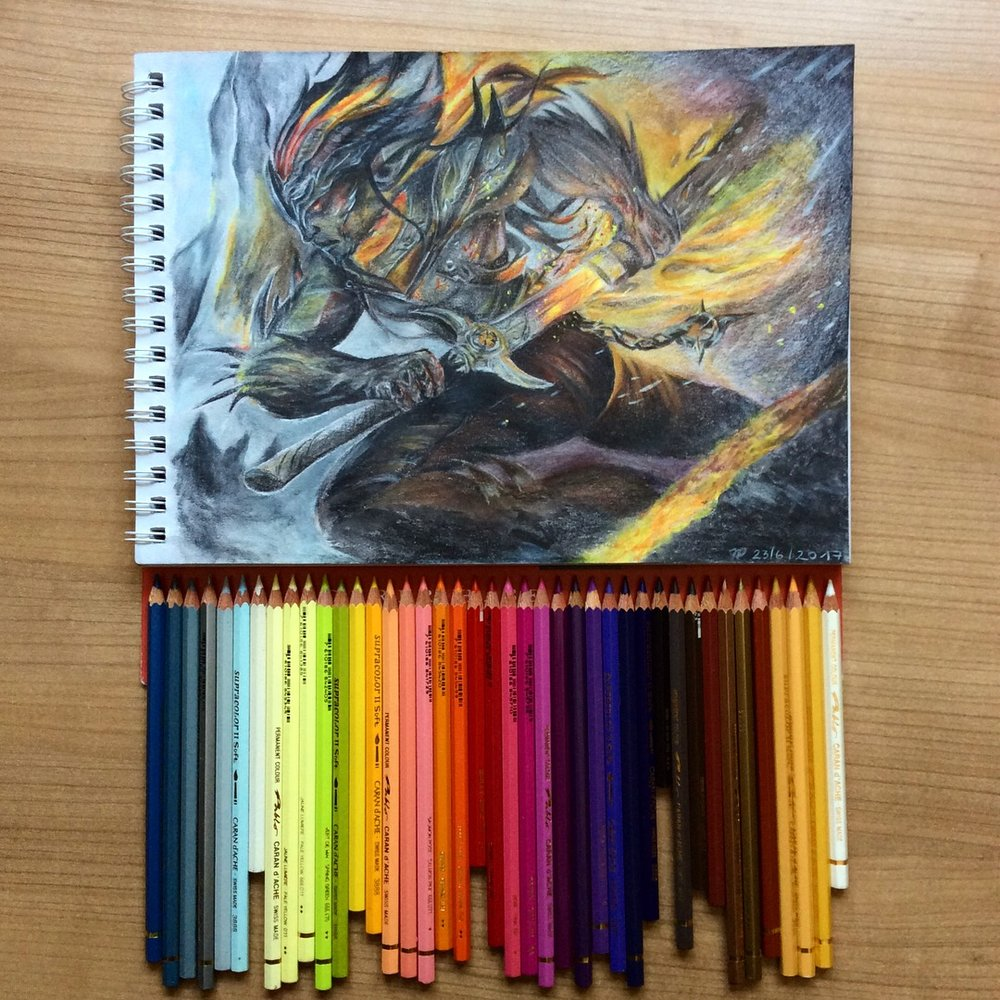 Night bringer pencil crayon drawing by    badass.kalista