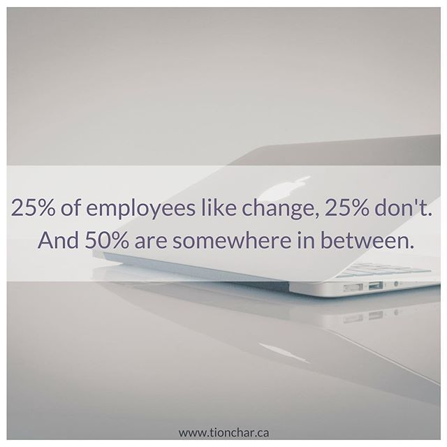 "You can DO something to help that 50% become part of the group of employees who like change, not the ones who don't. 5 💡 off the top of my head...⠀ ⠀ 1️⃣ Check your leadership bias: • How long did it take you to make your decision, discuss it with trusted advisors and plan how to do it? Even if it's now ""baked"" that processing time is important to your people too.⠀ ⠀ 2️⃣ Share why the change is happening, and why now: • Create a story. Context is everything.⠀ ⠀ 3️⃣ Communicate, with renewed context, regularly: • Have an update? What is it, and how does it move the change and the overall goal forward? Why does it matter to your people?⠀ ⠀ 4️⃣ Leverage change agents: • This could be team managers or early adopters of the change. Ask them to get their team together after you've communicated the information to chat about it - maybe it's later that day, maybe it's a couple of days later after people have an opportunity to process it and think about their questions. ⠀ ⠀ 5️⃣ Be active after the change date: • Those planning and implementing the change care a lot about it until the day after it's ""done"". The people who are not involved before, but are impacted after care about it MOST after it's done. Support them. Ween yourself off the change, don't go cold turkey.⠀ ⠀ Now, who would 💜 to work in a place like this?!? 🙋🏽‍♀️⠀ •⠀ •⠀ •⠀ •⠀ •⠀ #business #culture #orgculture #yycstartup #startup #changecoach #employeecare #employeeengagement #trust #worktogether #tionchar #change #leadership #growth #leadchange"