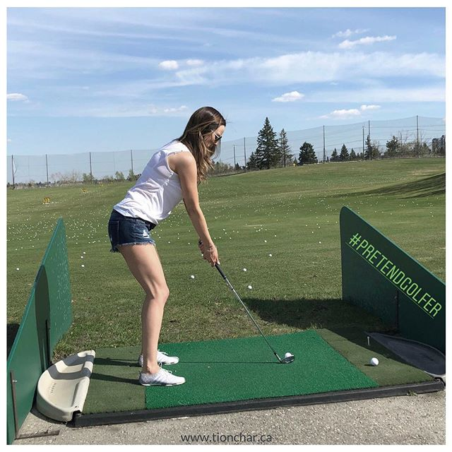 "Remember this, #pretendgolfer from a few weeks ago?⠀ ⠀ Well, happy #FRI-YAY because tomorrow I'm off to Fairmont for a few days (less than 10 🤠) where I hope to decrease the ""pretend"" in my #golfgame! Plus a few 🍹and 🤣 with great friends!⠀ ⠀ See ya soon! ""FORE"" (ya... not required, the ball doesn't go that far)"