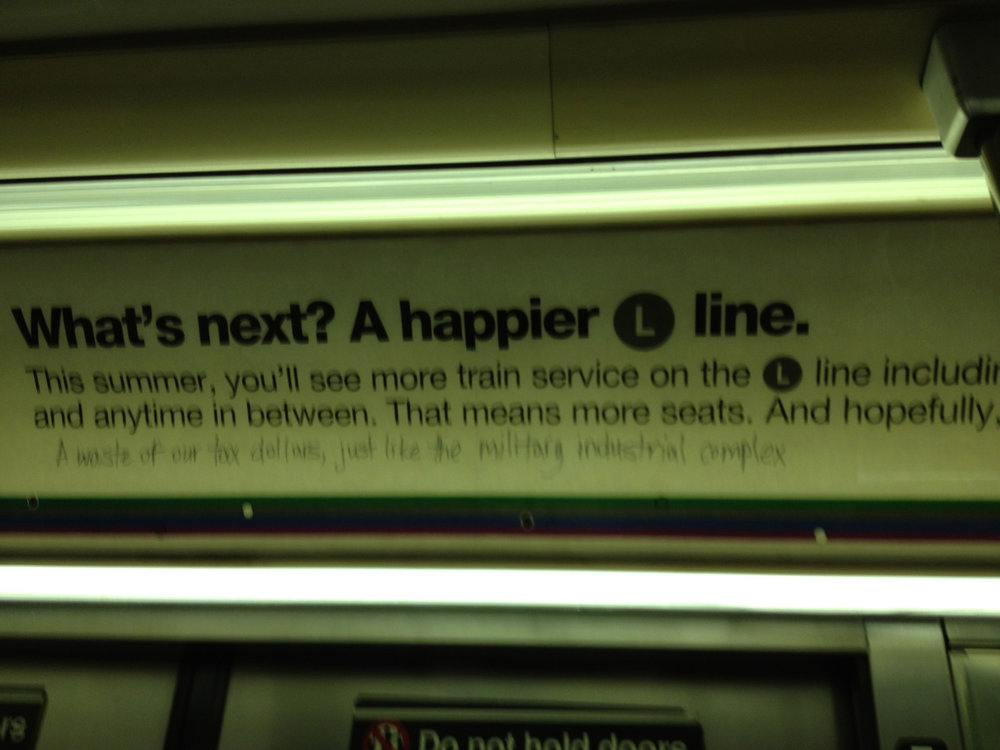 Equating improvements on the L train with the military-industrial complex.