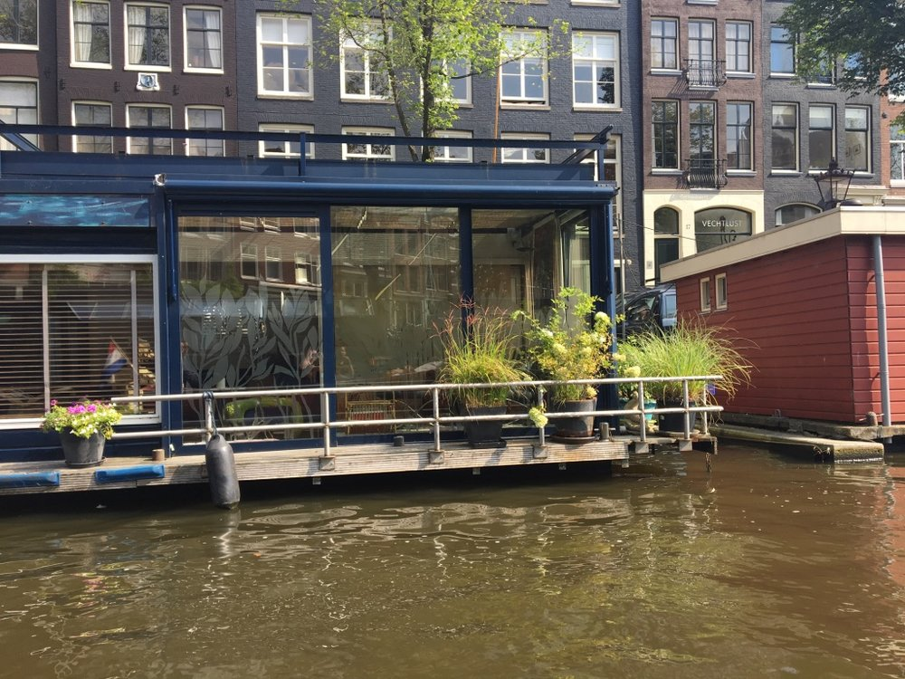 A houseboat along one of the canals in Amsterdam seen during our motor boat ride