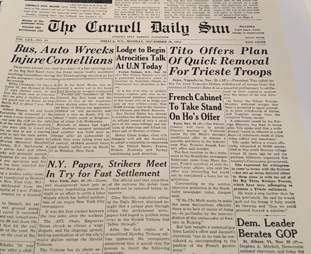 A Cornell newspaper that Kobayashi found in aid of learning more about her central character, David Newburge
