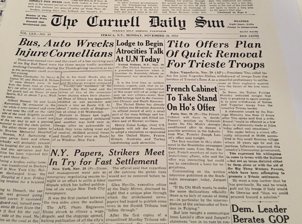 - Cornell student newspaper from early 1950s that Say Something Bunny creator Alison S.M. Kobayashi found, with a headline story about the play's central character