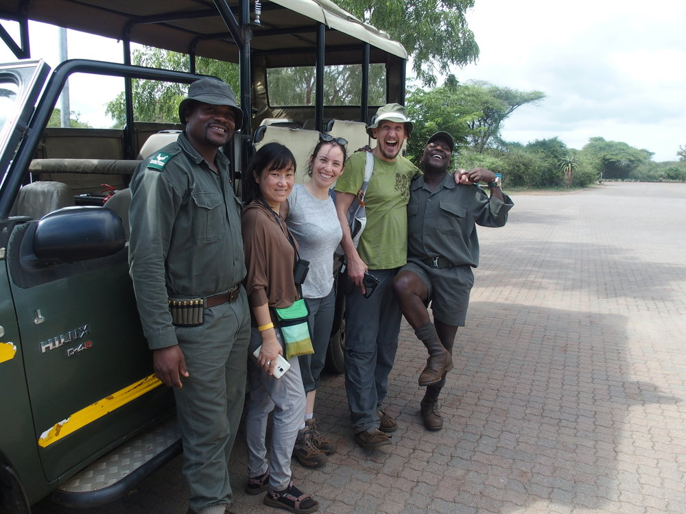 And perhaps the weirdest animal, the human being. My friends and I and our two excellent guides Walter and Luonga for our morning walk