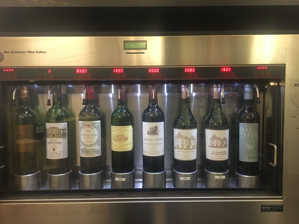 Some of the wine tasting choices available at Max Bordeaux