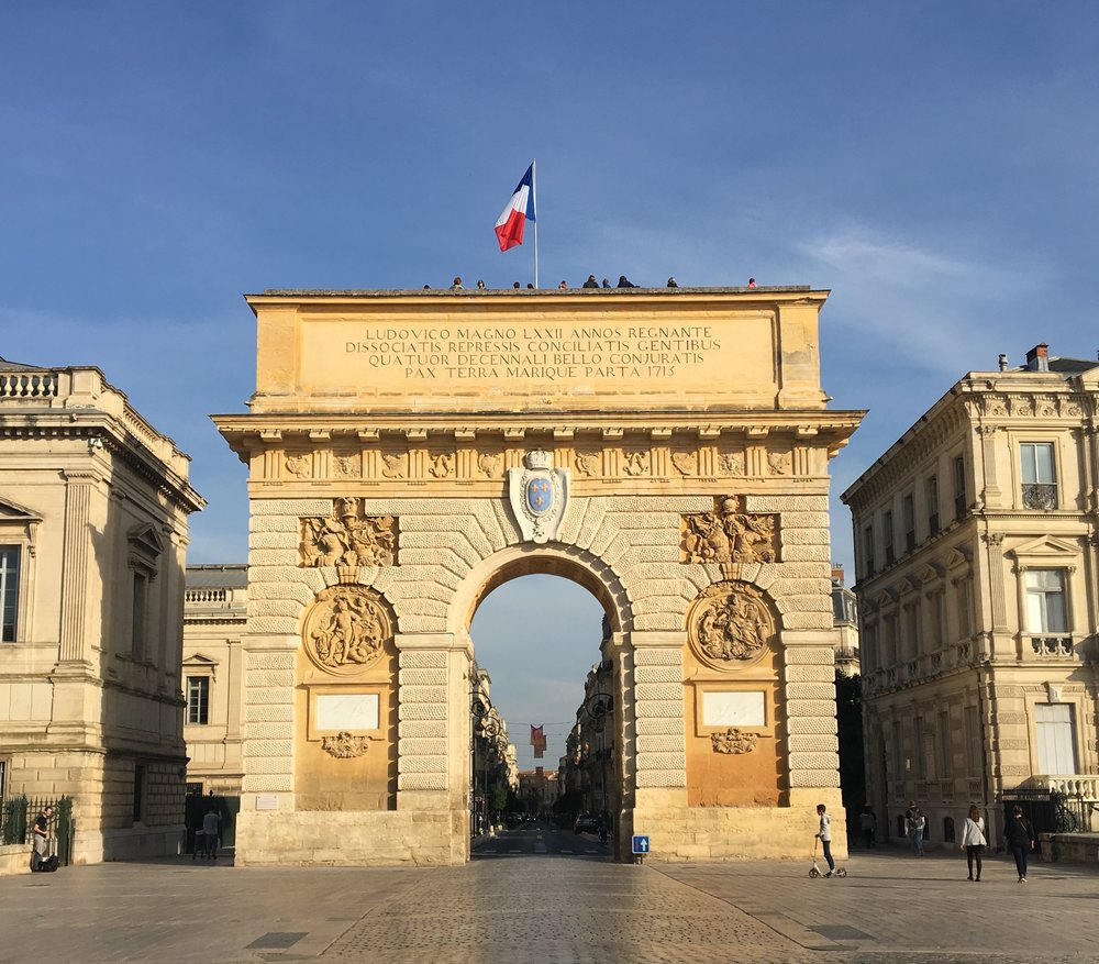 Montpellier's Arc de Triomphe, also known as Place de Peyrou.