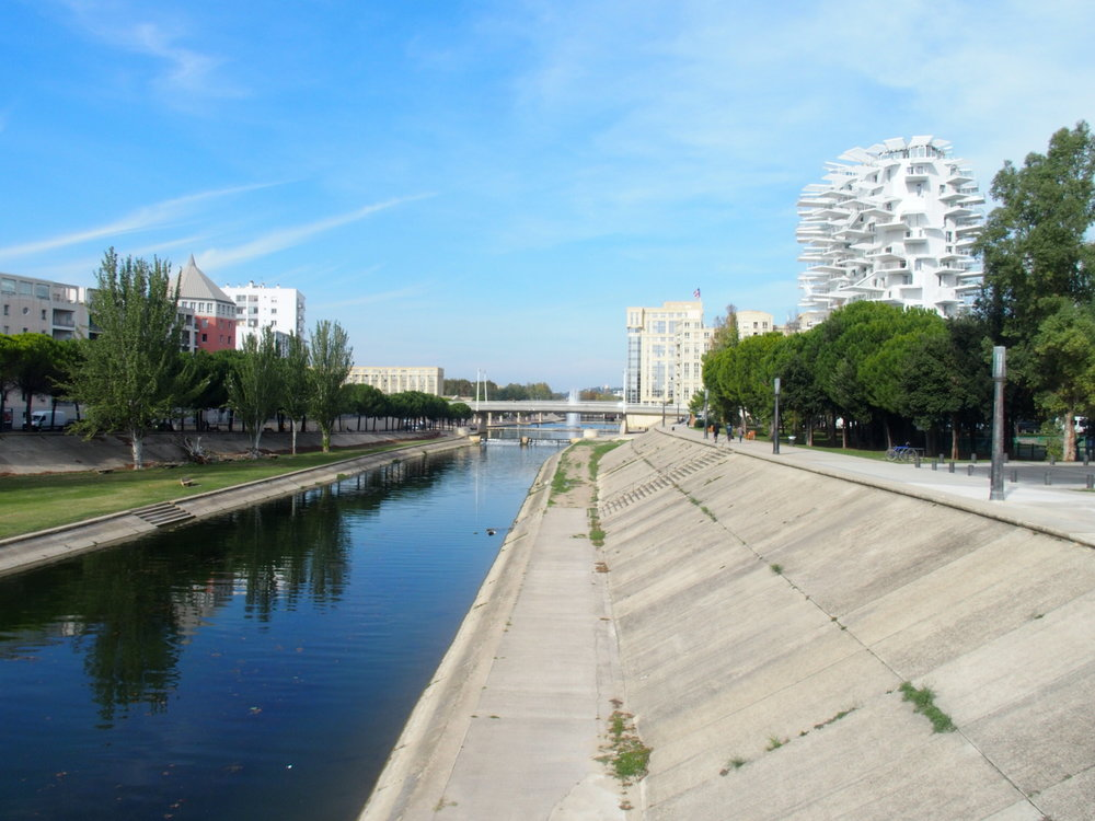 the Lez River in the Port Marianne neighborhood of Montpellier