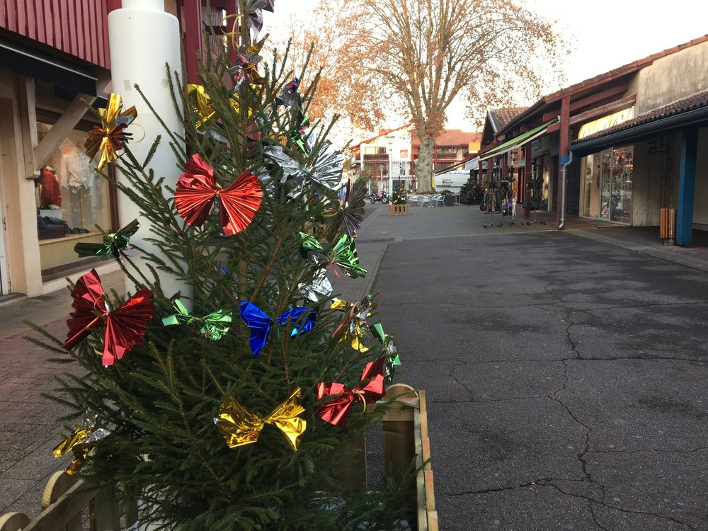 Christmas decorations in the small town center