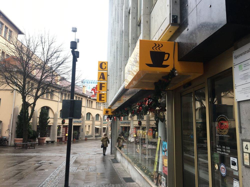 A café near Königstrasse, the main shopping street in Stuttgart's center city