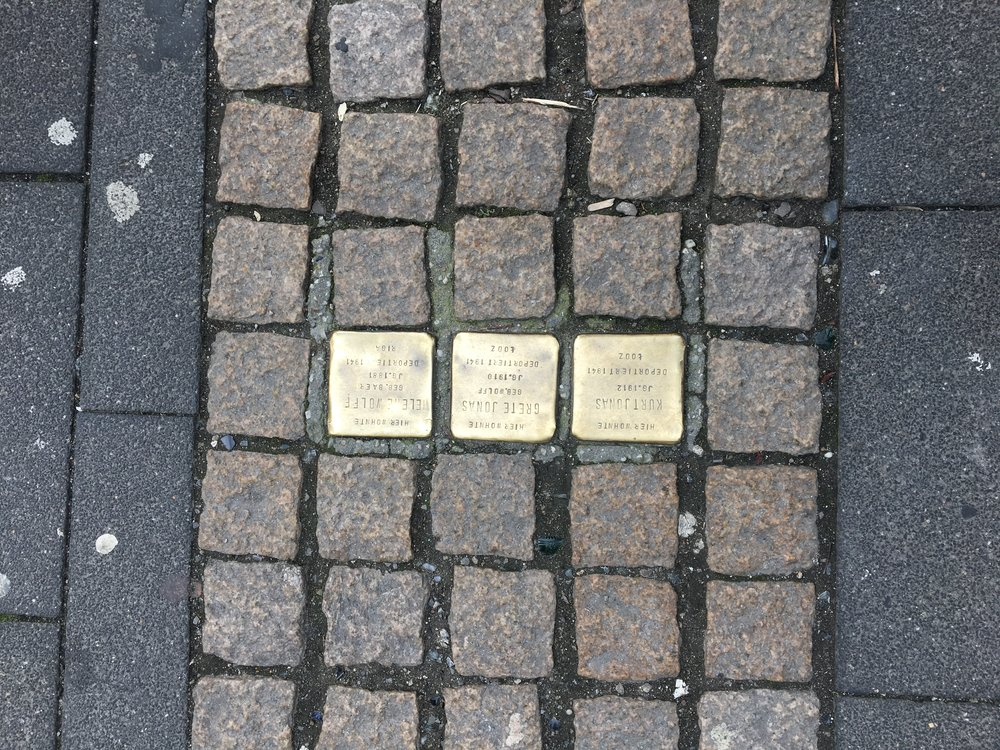 The squares that signify where Holocaust victims once lived