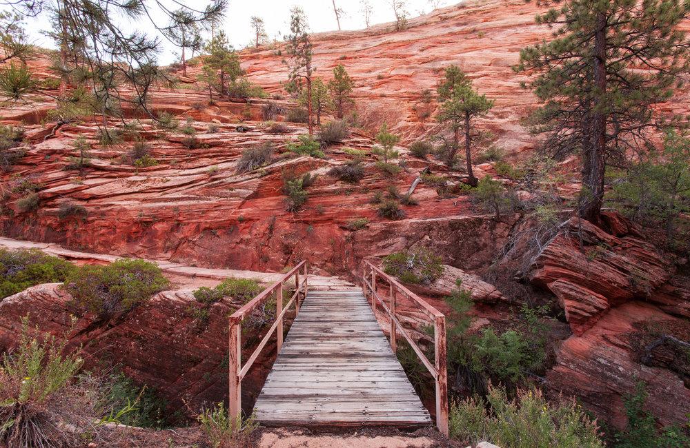 Red bridge on Zion's West Rim Trail