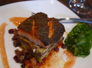 Roasted Tasmanian trout with pancetta and basil paired perfectly with Kessler-Haak's 2011 estate pinot noir