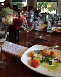 "Pickled beets, watermelon and more comprised ""Sottaceto,"" paired with chardonnay"