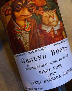 The purchase of one bottle of Ground Boots' pinot noir will fund spaying or neutering and vaccinations for three dogs or cats