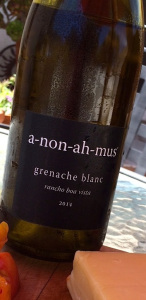 The 2014 a-non-ah-mus Grenache Blanc is a beauty of a wine, and pairs smashingly with cheese.