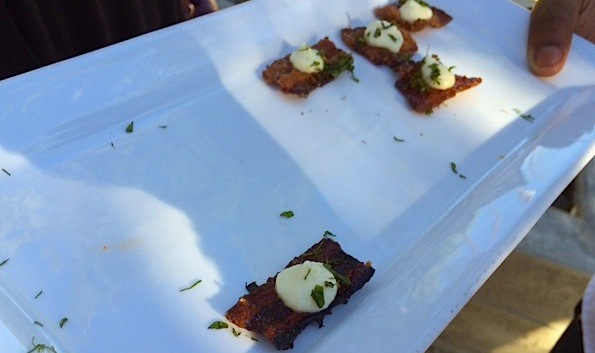 "More, please? Best.appetizer.ever, this was candied bacon ""cracker"" with feta, herbs and grapefruit"