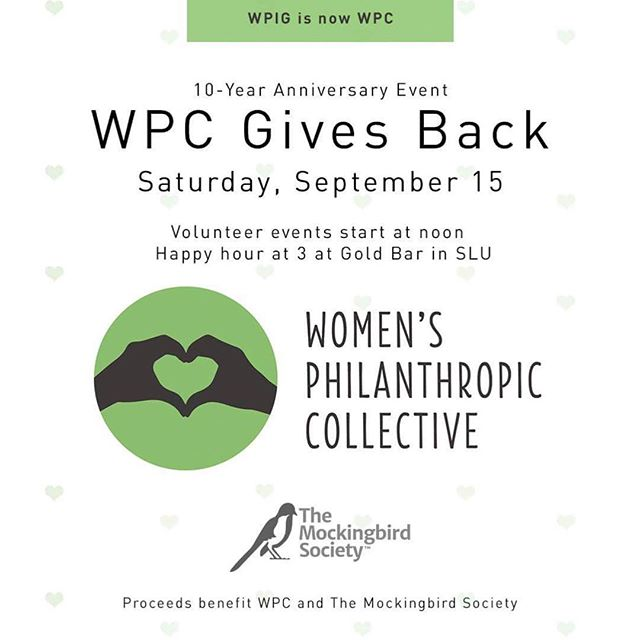 Today is the day! WPC & our wonderful supporters will be giving back around the Seattle today to support @mockingbird.society, @marysplacewa, YouthCare, @dignity_for_divas & ReWA. Can't join us to volunteer? Come by @goldbarsea for our celebratory happy hour at 3pm! Drinks, raffle baskets & more! #wpcgivesback #wpcturns10
