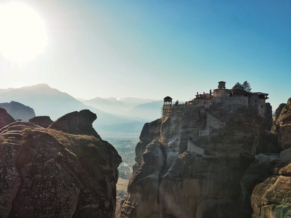 Monasteries perched on top of conglomerate pillars
