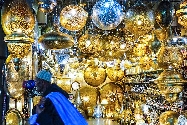 Dazzling lamps in the old medina of Marrakesh