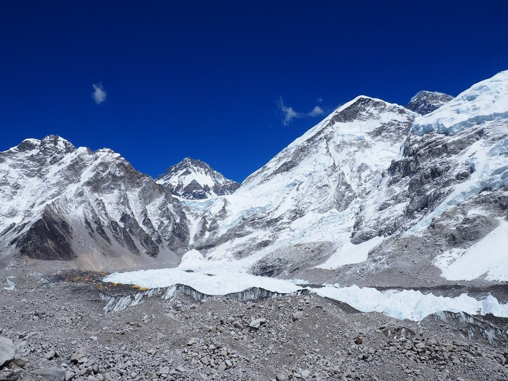 Everest is the scrap of black rock peaking out in the right corner