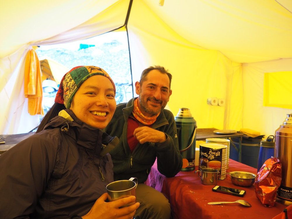 Tea with Tom in his expedition's common tent at EBC