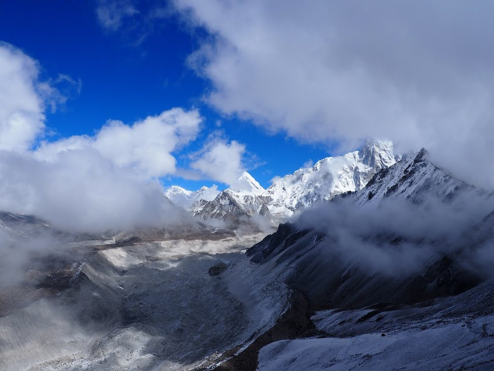The Ngozumpa Glacier flows from Cho Oyu the sixth highest mountain in the world