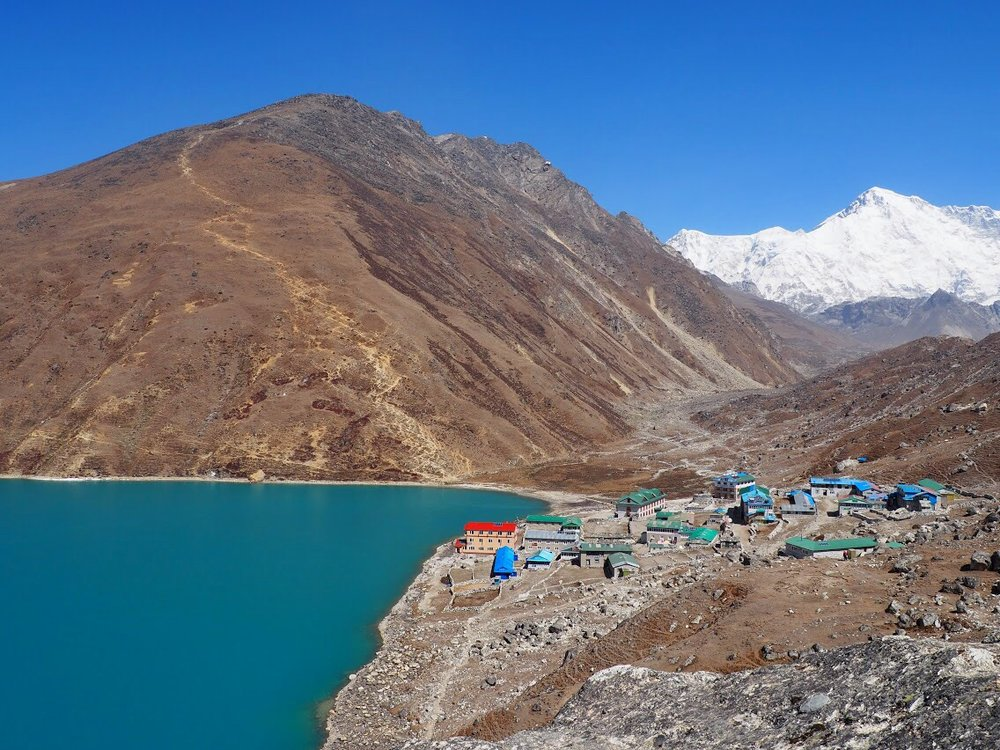 Gokyo Ri (17,573 ft), village (15,720 ft), and lake (15,400–16,400 ft)