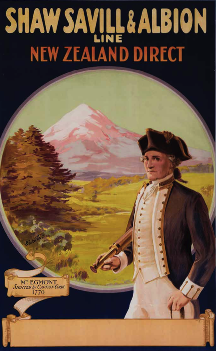 Mt Egmont sighted by Captain Cook 1770, a Shaw, Savill & Albion shipping line poster from 1931 advertising their route to New Zealand. It shows a view of Mt Taranaki (formerly Mt Egmont) with a portrait of Cook holding a telescope. ANMM Collection 00018966