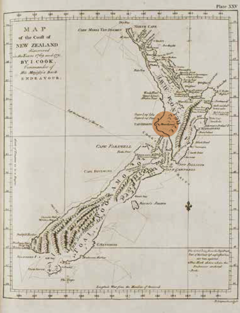 Map from Cook's expedition showing Mt Egmont (now Mt Taranaki, highlighted) and the track of Endeavour. ANMM Collection 00004423_038