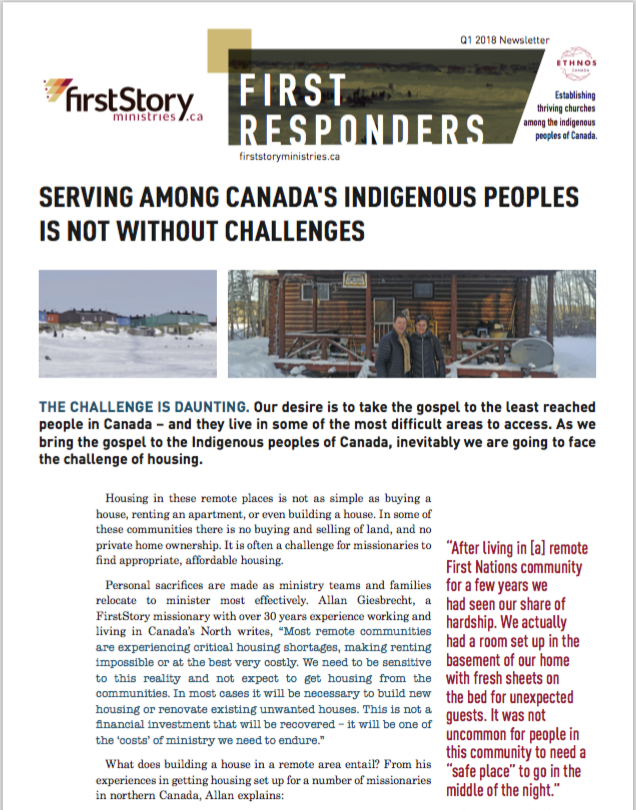 FirstResponders 2018 Q1 - Serving Among Canada's Indigenous Peoples is Not Without Challenges