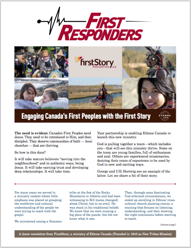 FirstResponders 2017 Q4 - Engaging Canada's First Peoples with the First Story