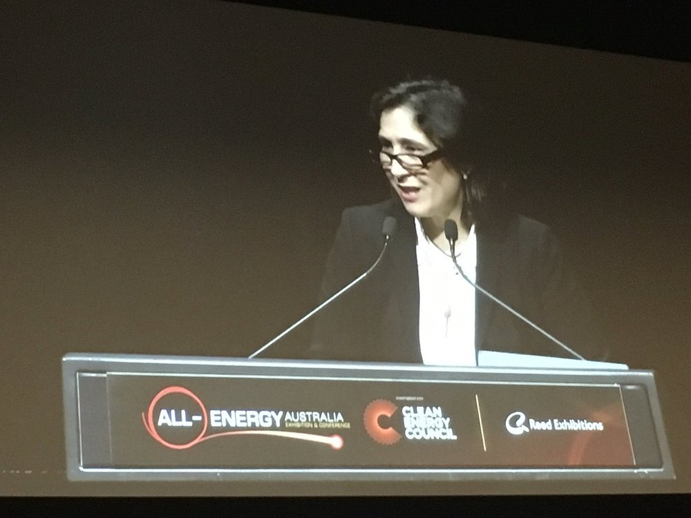VIC energy minister Lily D'Ambrosio gives the opening speech for All-Energy 2018. (Photo by Darren Gladman of the CEC.)
