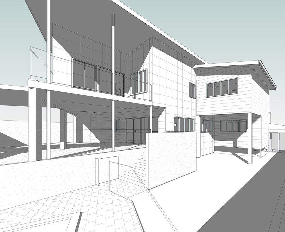 In approval stage. 5 Bedroom home with north to the front - designed a 'front' courtyard behind a privacy wall to open up the entire house.