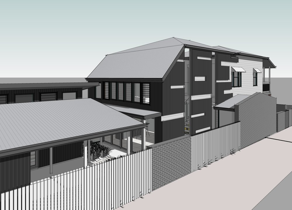 Town planning approval received. Raise existing Queenslander with new living space extension to the rear.