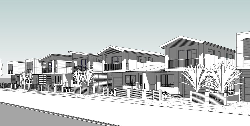 2 bedroom attached duplexes design for a 150 square meter freehold title lot.