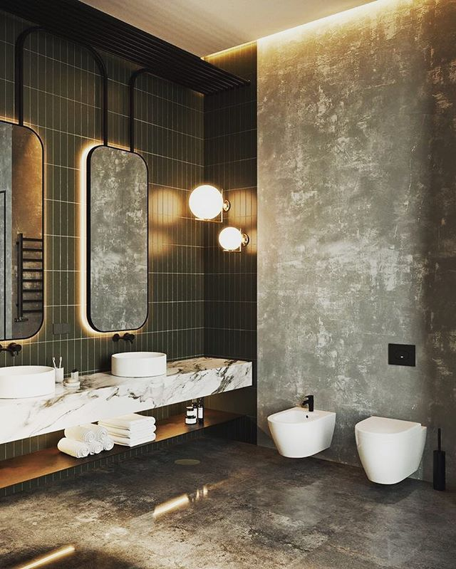 comparethetradieHere's a little bathroom inspiration to end the week 💭 Hit ❤️ if you love the polished Venetian plaster wall, such a cool effect that's becoming hugely popular right now