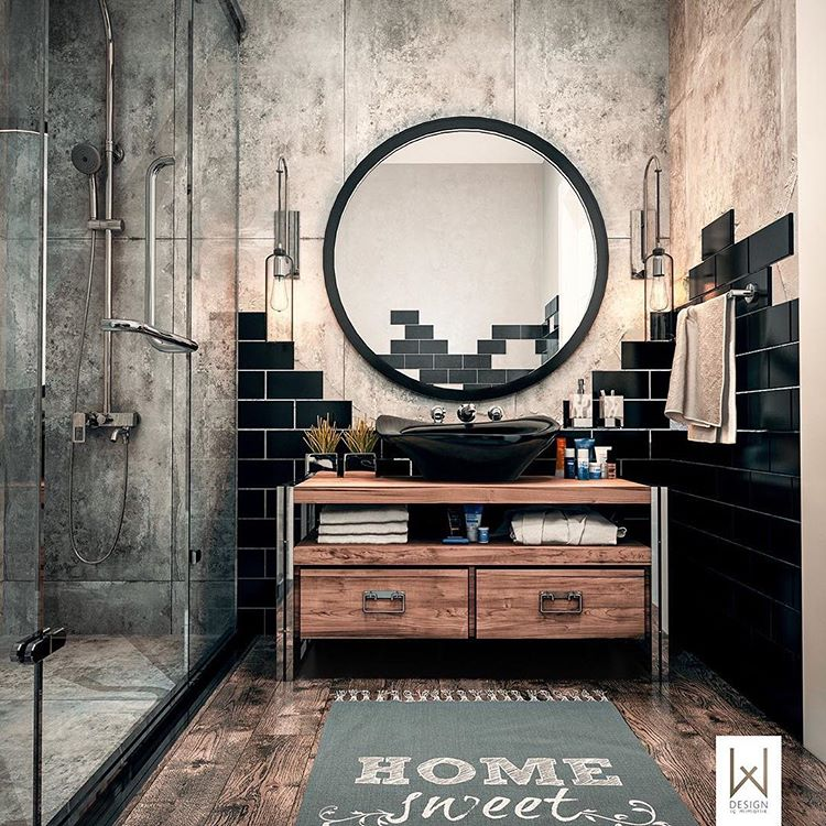 adesignersmindBathroom inspiration!! Loving the industrial@vibe to this design!! And that mirror!!! Image via: @behance
