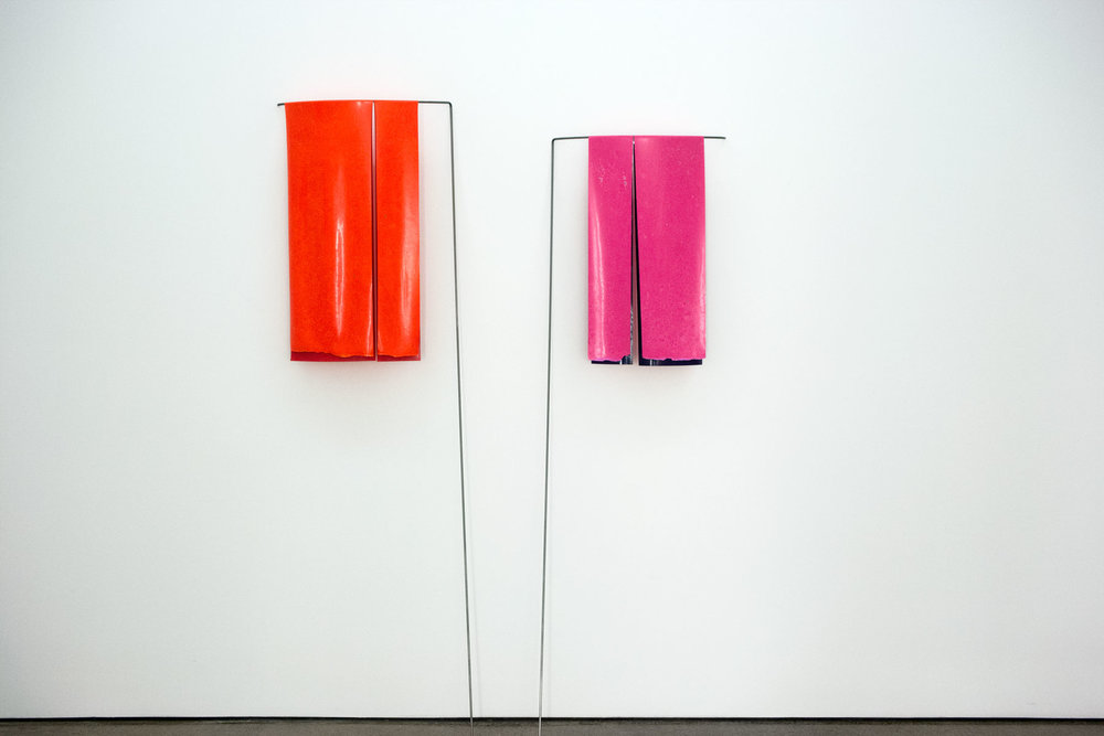 Left Double Orange,  2018 .paint skin and steel. 1800 x 500mm.  Right  Double Pink,  2018. Paint skin and steel.1700 x 500mm.