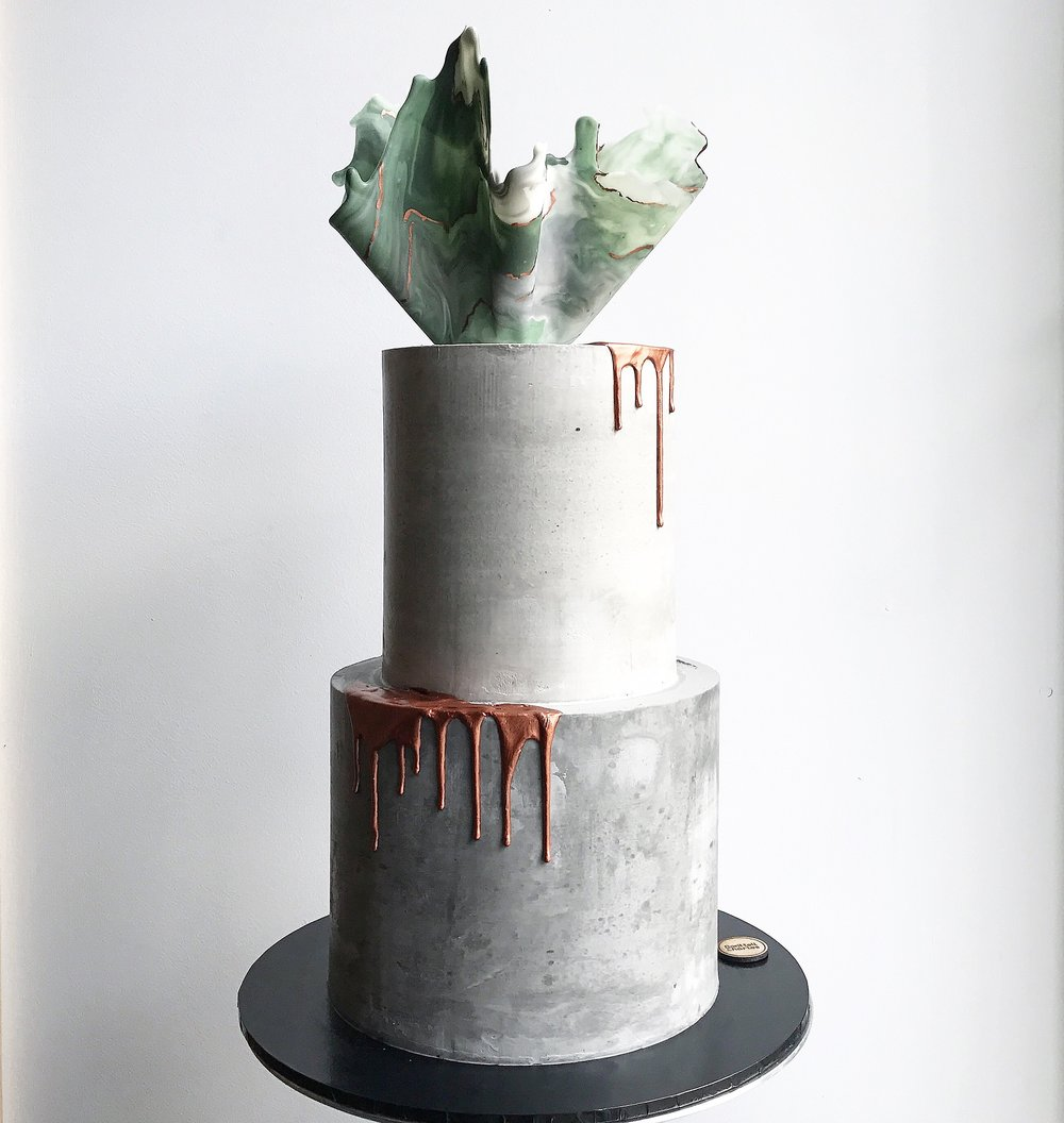 Two-Tone Concrete Wedding Cake