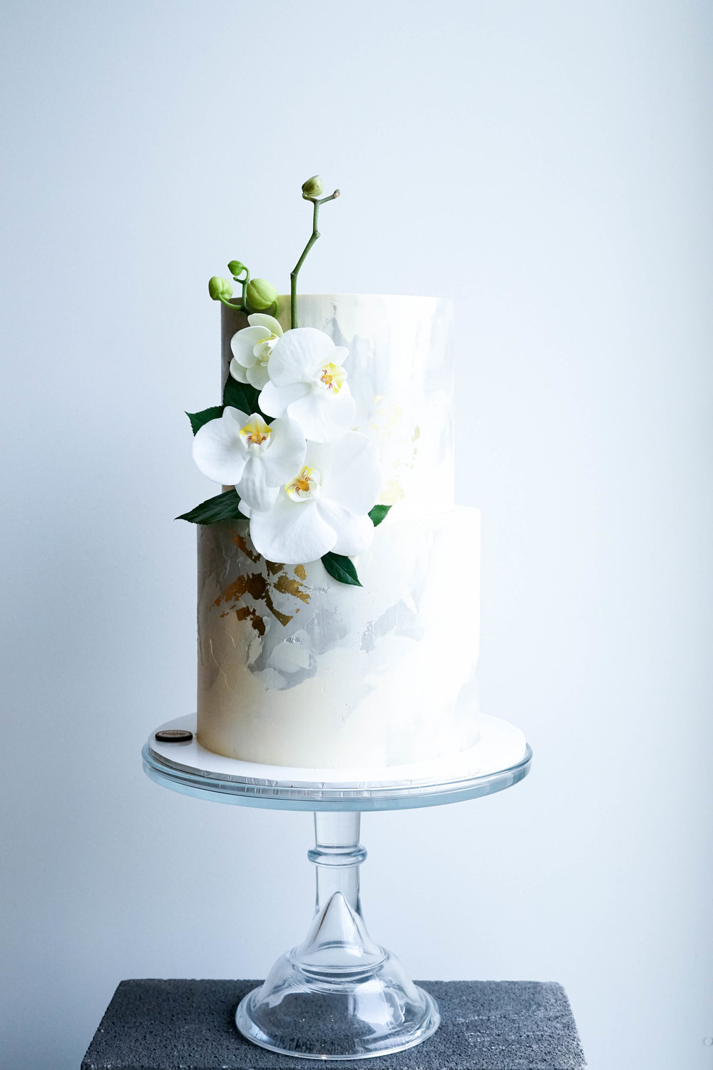 Elegant Wedding Cake with Orchids