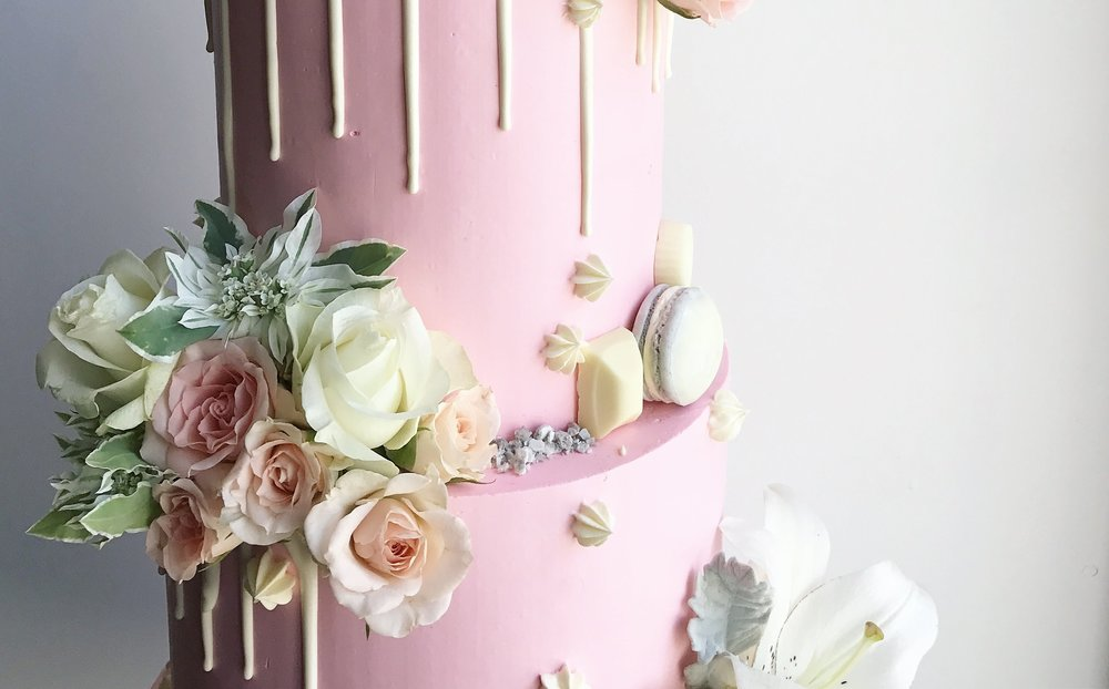 Pink Wedding Cake Detail