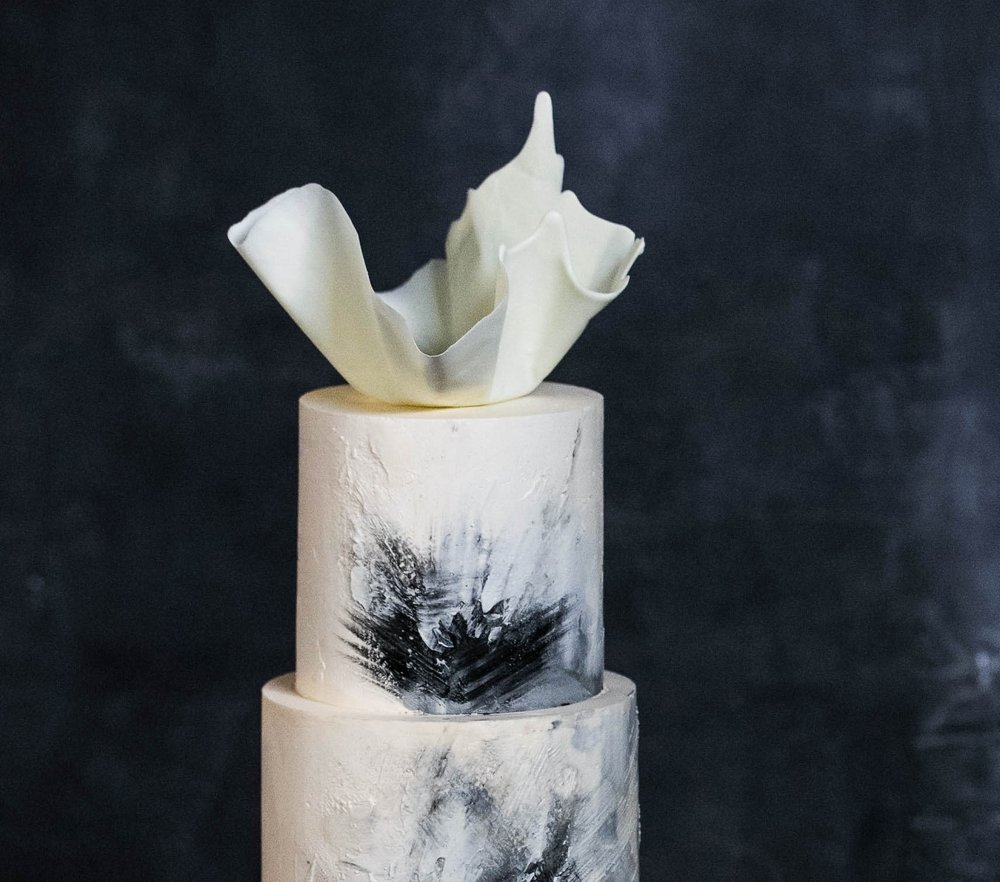 Textured Watercolour Wedding Cake