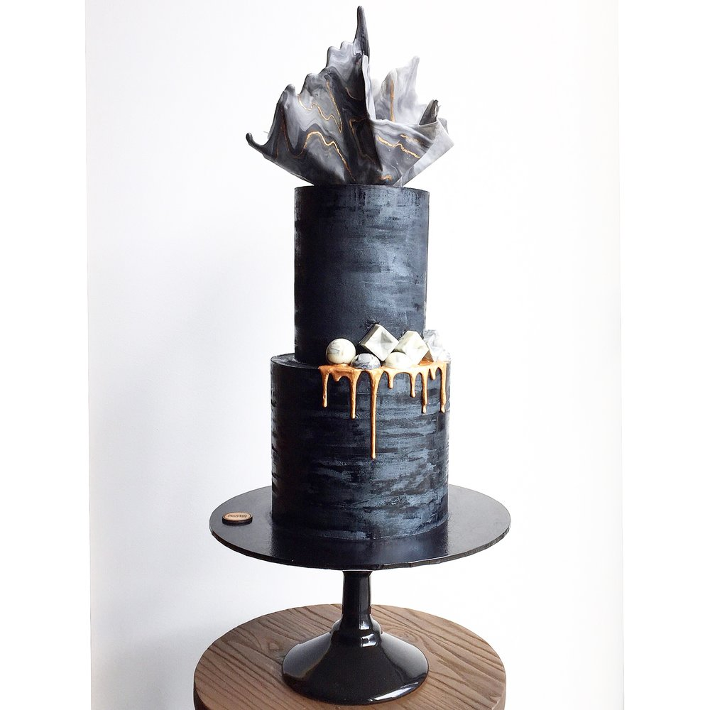 Striking Black Celebration Cake
